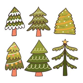 Hand gezeichneter weihnachtsbaumsatz