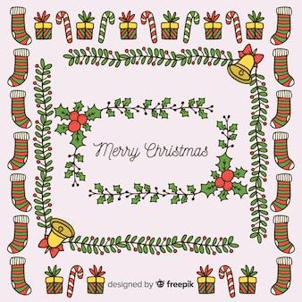 Hand gezeichneter weihnachtselementhintergrund