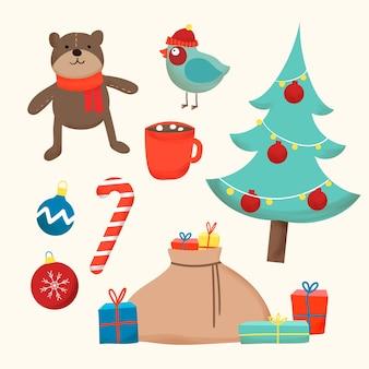 Hand gezeichneter weihnachtselementsatz