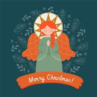 Hand gezeichneter weihnachtsengel