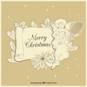 Hand gezeichneter weihnachtsengels-weinlesehintergrund
