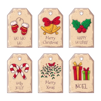 Hand gezeichneter weihnachtsetikettensatz