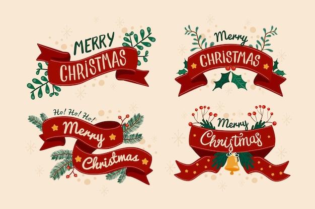 Hand gezeichneter weihnachtsfarbbandsatz