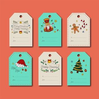 Hand gezeichneter weihnachtsfeiertag-tag-satz