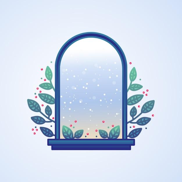 Hand gezeichneter weihnachtsfenster-ansicht-hintergrund