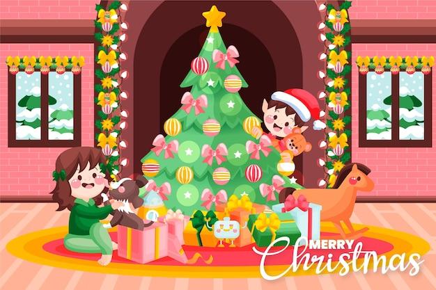 Hand gezeichneter weihnachtshintergrund mit kindern und geschenken