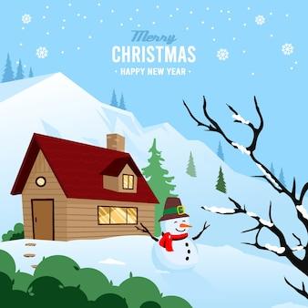 Hand gezeichneter weihnachtshintergrund mit schneemann und haus
