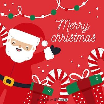 Hand gezeichneter weihnachtshintergrund mit weihnachtsmann