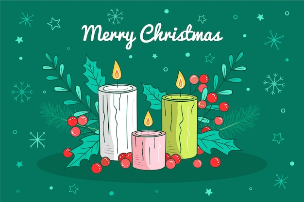 Hand gezeichneter weihnachtskerzenhintergrund