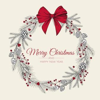 Hand gezeichneter weihnachtskranz des baumes mit roter schleife. karte,