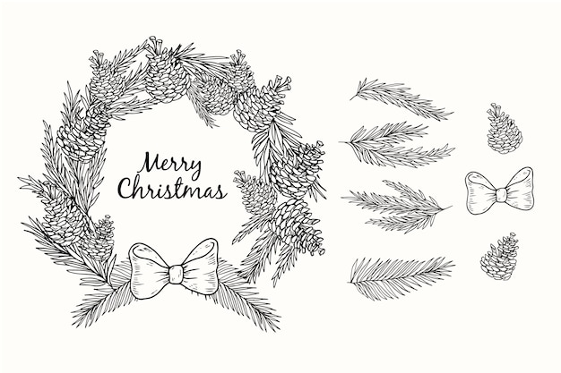 Hand gezeichneter weihnachtskranz in schwarzweiss