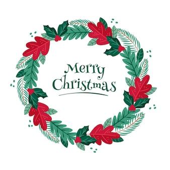 Hand gezeichneter weihnachtskranz mit kiefernblättern