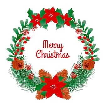 Hand gezeichneter weihnachtskranz mit poinsettia