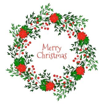 Hand gezeichneter weihnachtskranz mit roten blumen