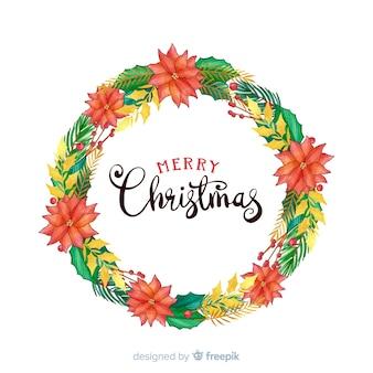 Hand gezeichneter weihnachtskranz mit schönen blumen