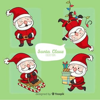 Hand gezeichneter weihnachtsmann-satz