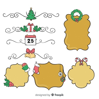 Hand gezeichneter weihnachtsrahmensatz