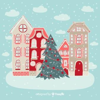 Hand gezeichneter weihnachtsstadthintergrund