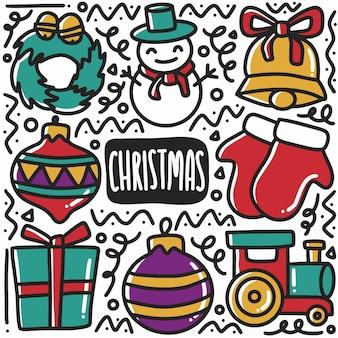 Hand gezeichneter weihnachtstag-gekritzel-satz mit ikonen und gestaltungselementen