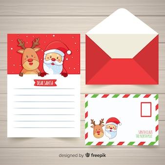 Hand gezeichneter weihnachtsumschlag und -brief