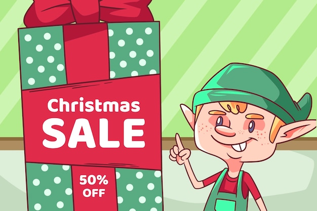 Hand gezeichneter weihnachtsverkauf