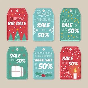 Hand gezeichneter weihnachtsverkaufs-tagsatz