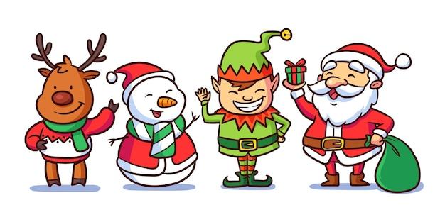 Hand gezeichneter weihnachtszeichensatz Premium Vektoren