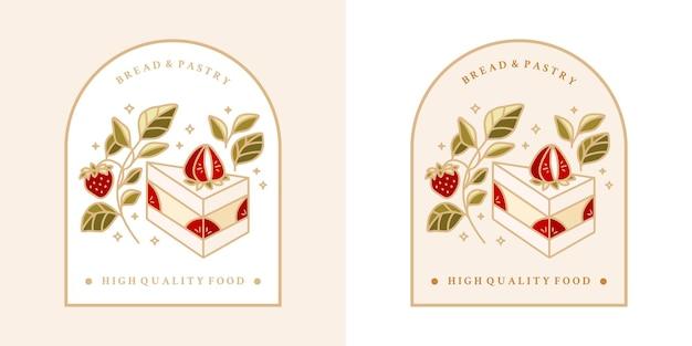 Hand gezeichneter weinlesekuchen, gebäck, backlogo mit erdbeere, blattzweig und rahmen
