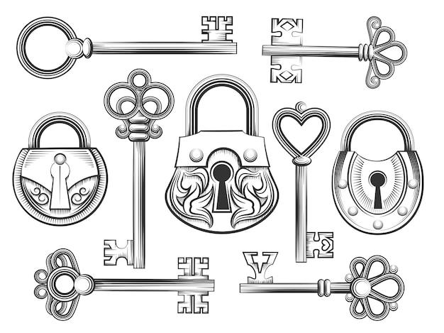 Hand gezeichneter weinleseschlüsselschlüssel und schlossvektorsatz. vorhängeschloss und schlüsselloch, antiquitätensammlung, sicherheit und schutz