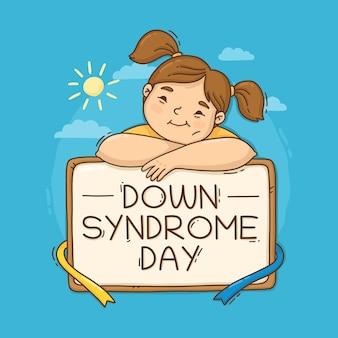 Hand gezeichneter welt-down-syndrom-tag mit mädchen