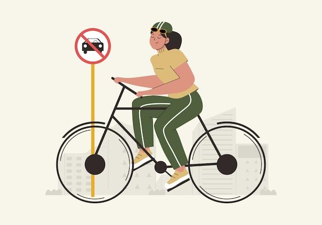 Hand gezeichneter weltautofreiheitstaghintergrund mit frauen, die fahrrad und keine autozeichenflachillustration verwenden. weltumwelttag konzept. umweltfreundlicher transport