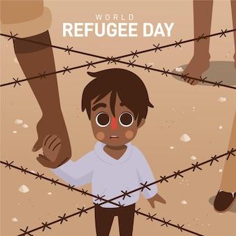 Hand gezeichneter weltflüchtlingstag mit jungen
