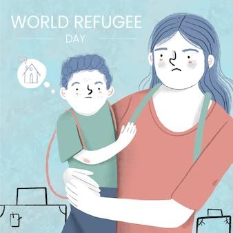 Hand gezeichneter weltflüchtlingstag