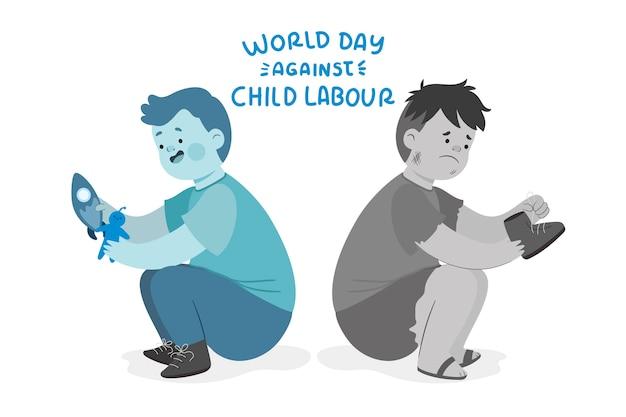 Hand gezeichneter welttag gegen kinderarbeitsillustration