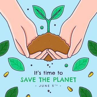 Hand gezeichneter weltumwelttag retten die planetenillustration