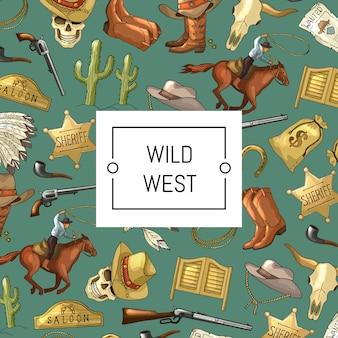Hand gezeichneter wilder westcowboyhintergrund mit platz für text