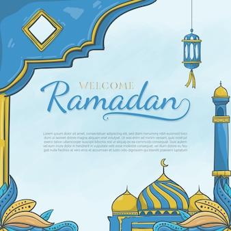 Hand gezeichneter willkommener ramadan mit islamischer verzierung