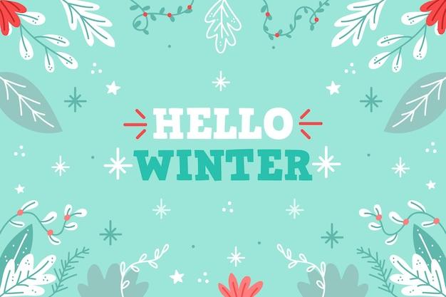 Hand gezeichneter winterhintergrund mit hallo wintertext