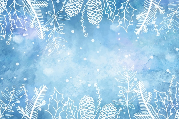Hand gezeichneter winterhintergrund