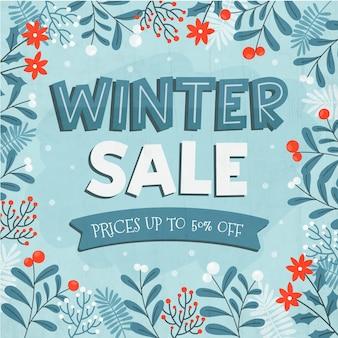 Hand gezeichneter winterverkauf