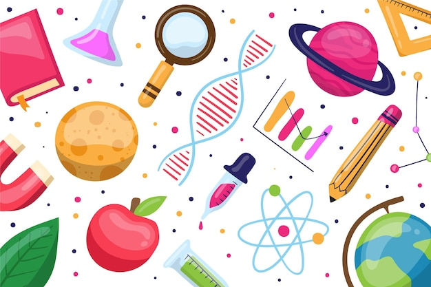 Hand gezeichneter wissenschaftlicher hintergrund mit elementsammlung