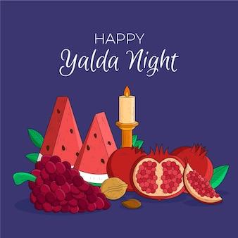 Hand gezeichneter yalda-hintergrund mit früchten und kerze