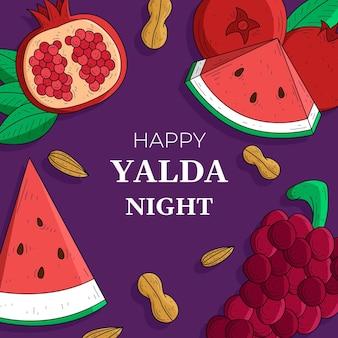 Hand gezeichneter yalda-hintergrund mit früchten