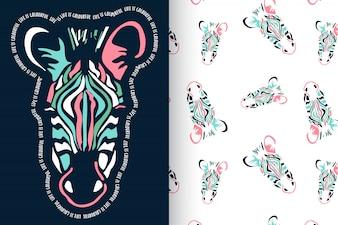 Hand gezeichneter Zebra mit Mustervektorsatz