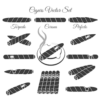 Hand gezeichneter zigarrenvektor. torpedokorona und perfecto, illustration des kulturlebensstils. vektor-zigarrenikonen