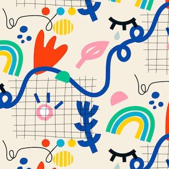 Hand gezeichnetes abstraktes elementmuster