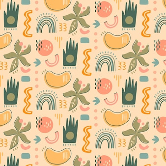 Hand gezeichnetes abstraktes formmuster des flachen designs
