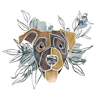 Hand gezeichnetes abstraktes hundeporträt des aquarells mit aquarell-swooshs und linienkunstpflanzen