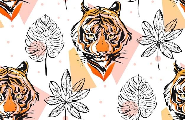 Hand gezeichnetes abstraktes kreatives nahtloses muster mit tigergesichtsillustration