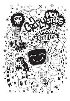 Hand gezeichnetes alien- und monsterkarikaturgekritzel